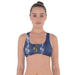 Gold And Silver Blue Jean Look By Flipstylez Designs Got No Strings Sports Bra by flipstylezdes