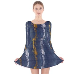 Gold And Silver Blue Jean Look By Flipstylez Designs Long Sleeve Velvet Skater Dress by flipstylezdes
