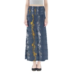 Gold And Silver Blue Jean Look By Flipstylez Designs Full Length Maxi Skirt by flipstylezdes
