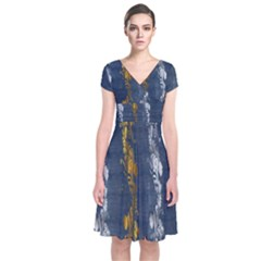 Gold And Silver Blue Jean Look By Flipstylez Designs Short Sleeve Front Wrap Dress by flipstylezdes