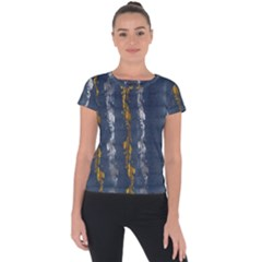 Gold And Silver Blue Jean Look By Flipstylez Designs Short Sleeve Sports Top  by flipstylezdes