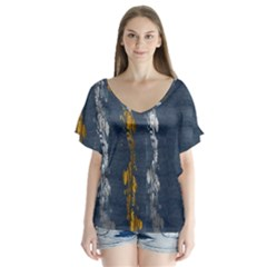 Gold And Silver Blue Jean Look By Flipstylez Designs V Neck Flutter Sleeve Top by flipstylezdes