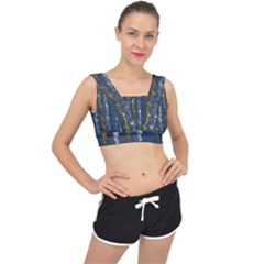 Gold And Silver Blue Jean Look By Flipstylez Designs V Back Sports Bra by flipstylezdes