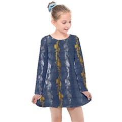 Gold And Silver Blue Jean Look By Flipstylez Designs Kids  Long Sleeve Dress by flipstylezdes