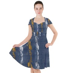 Gold And Silver Blue Jean Look By Flipstylez Designs Cap Sleeve Midi Dress by flipstylezdes