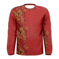 Red Flowers On Red Print Background By Flipstylez Designs Men s Long Sleeve Tee