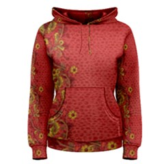 Red Flowers On Red Print Background By Flipstylez Designs Women s Pullover Hoodie by flipstylezdes