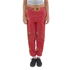 Red Flowers On Red Print Background By Flipstylez Designs Women s Jogger Sweatpants by flipstylezdes