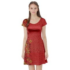 Red Flowers On Red Print Background By Flipstylez Designs Short Sleeve Skater Dress