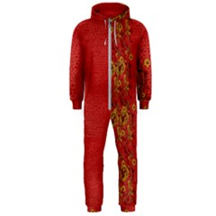 Red Flowers On Red Print Background By Flipstylez Designs Hooded Jumpsuit (men)