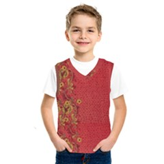 Red Flowers On Red Print Background By Flipstylez Designs Kids  Sportswear by flipstylezdes