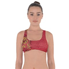 Red Flowers On Red Print Background By Flipstylez Designs Got No Strings Sports Bra by flipstylezdes