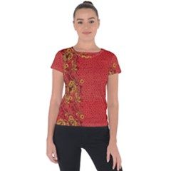 Red Flowers On Red Print Background By Flipstylez Designs Short Sleeve Sports Top