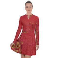 Red Flowers On Red Print Background By Flipstylez Designs Long Sleeve Panel Dress by flipstylezdes