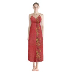 Red Flowers On Red Print Background By Flipstylez Designs Button Up Chiffon Maxi Dress