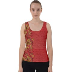 Red Flowers On Red Print Background By Flipstylez Designs Velvet Tank Top