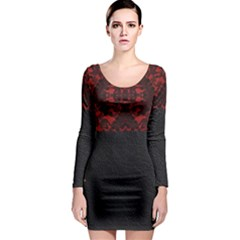 Red And Black Leather Red Lace By Flipstylez Designs Long Sleeve Bodycon Dress