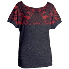 Red And Black Leather Red Lace By Flipstylez Designs Women s Oversized Tee