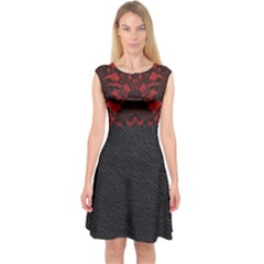 Red And Black Leather Red Lace By Flipstylez Designs Capsleeve Midi Dress