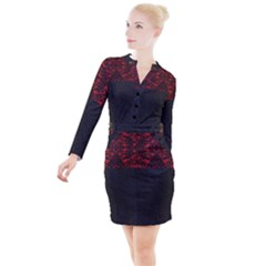 Red And Black Leather Red Lace By Flipstylez Designs Button Long Sleeve Dress
