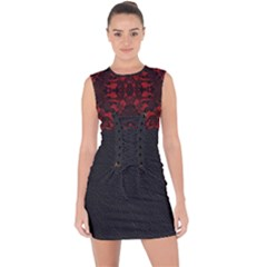 Red And Black Leather Red Lace By Flipstylez Designs Lace Up Front Bodycon Dress