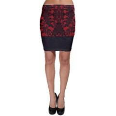 Red And Black Leather Red Lace By Flipstylez Designs Bodycon Skirt
