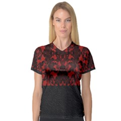 Red And Black Leather Red Lace By Flipstylez Designs V Neck Sport Mesh Tee