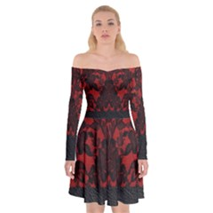 Red And Black Leather Red Lace By Flipstylez Designs Off Shoulder Skater Dress
