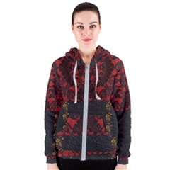 Red And Black Leather Red Lace By Flipstylez Designs Women s Zipper Hoodie