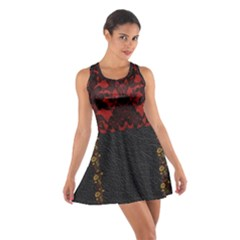 Red And Black Leather Red Lace By Flipstylez Designs Cotton Racerback Dress