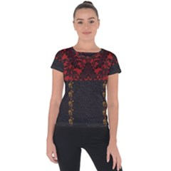 Red And Black Leather Red Lace By Flipstylez Designs Short Sleeve Sports Top