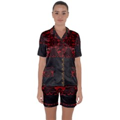 Red And Black Leather Red Lace By Flipstylez Designs Satin Short Sleeve Pyjamas Set