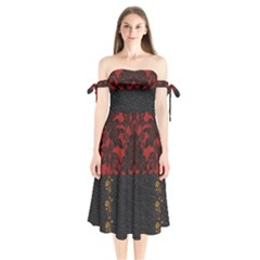 Red And Black Leather Red Lace By Flipstylez Designs Shoulder Tie Bardot Midi Dress