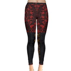 Red And Black Leather Red Lace By Flipstylez Designs Inside Out Leggings by flipstylezdes