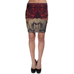 Red And Black Leather Red And Gold Lace Design By Flipstylez Designs Bodycon Skirt