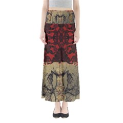 Red And Black Leather Red And Gold Lace Design By Flipstylez Designs Full Length Maxi Skirt