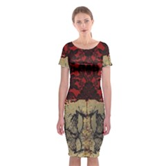 Red And Black Leather Red And Gold Lace Design By Flipstylez Designs Classic Short Sleeve Midi Dress