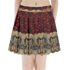 Red And Black Leather Red And Gold Lace Design By Flipstylez Designs Pleated Mini Skirt