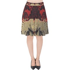 Red And Black Leather Red And Gold Lace Design By Flipstylez Designs Velvet High Waist Skirt