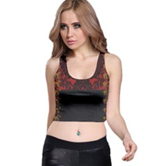 Red And Black Leather Red Lace Design By Flipstylez Designs Racer Back Crop Top
