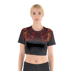 Red And Black Leather Red Lace Design By Flipstylez Designs Cotton Crop Top
