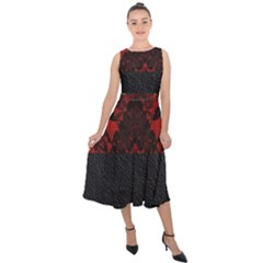 Red And Black Leather Red Lace Design By Flipstylez Designs Midi Tie Back Chiffon Dress