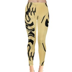 Peach And Black Swirl Design By Flipstylez Designs Leggings