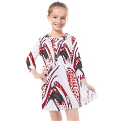 Pink And Black Swirl By Flipstylez Designs Kids  Quarter Sleeve Shirt Dress by flipstylezdes