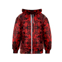 Bright Red Fashion Lace Design By Flipstylez Designs Kids  Zipper Hoodie