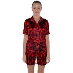 Bright Red Fashion Lace Design By Flipstylez Designs Satin Short Sleeve Pyjamas Set