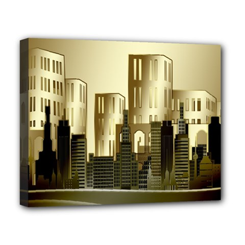 Architecture City House Deluxe Canvas 20  X 16  (stretched)
