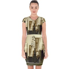 Architecture City House Capsleeve Drawstring Dress