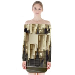 Architecture City House Long Sleeve Off Shoulder Dress by Samandel