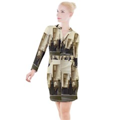 Architecture City House Button Long Sleeve Dress by Samandel